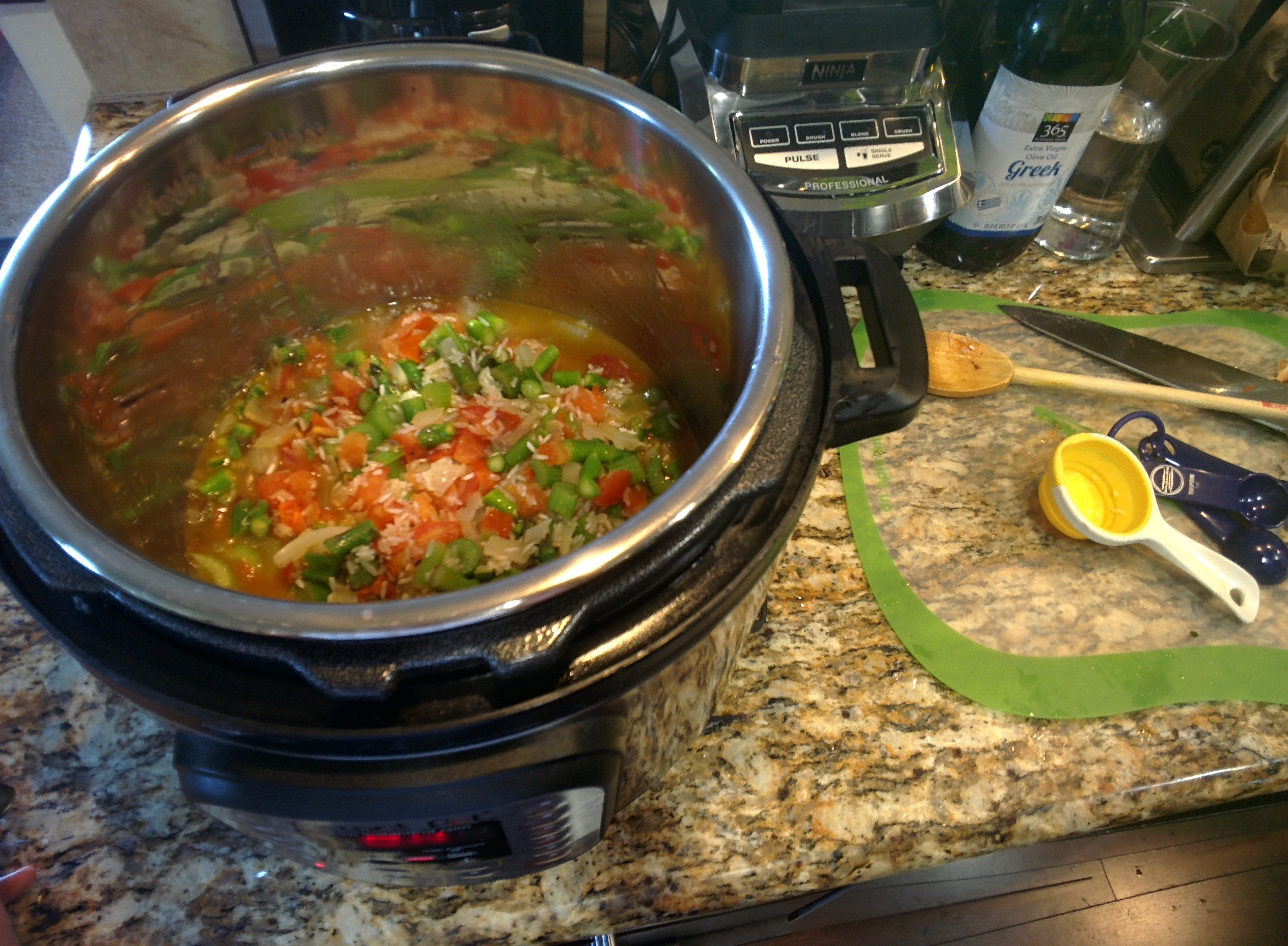 The InstantPot in action at a friend's home. It's a great way to be able to cook in someone else's home without worrying about cross contamination issues.