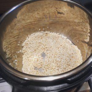 Instant Pot with uncooked arborio rice