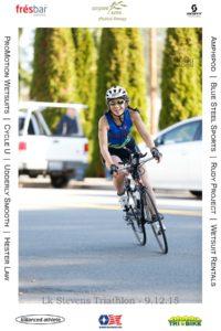 Woman riding a bike during a triathlon?