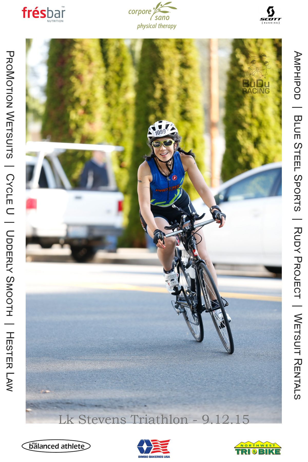 Woman riding a bike during a triathlon?