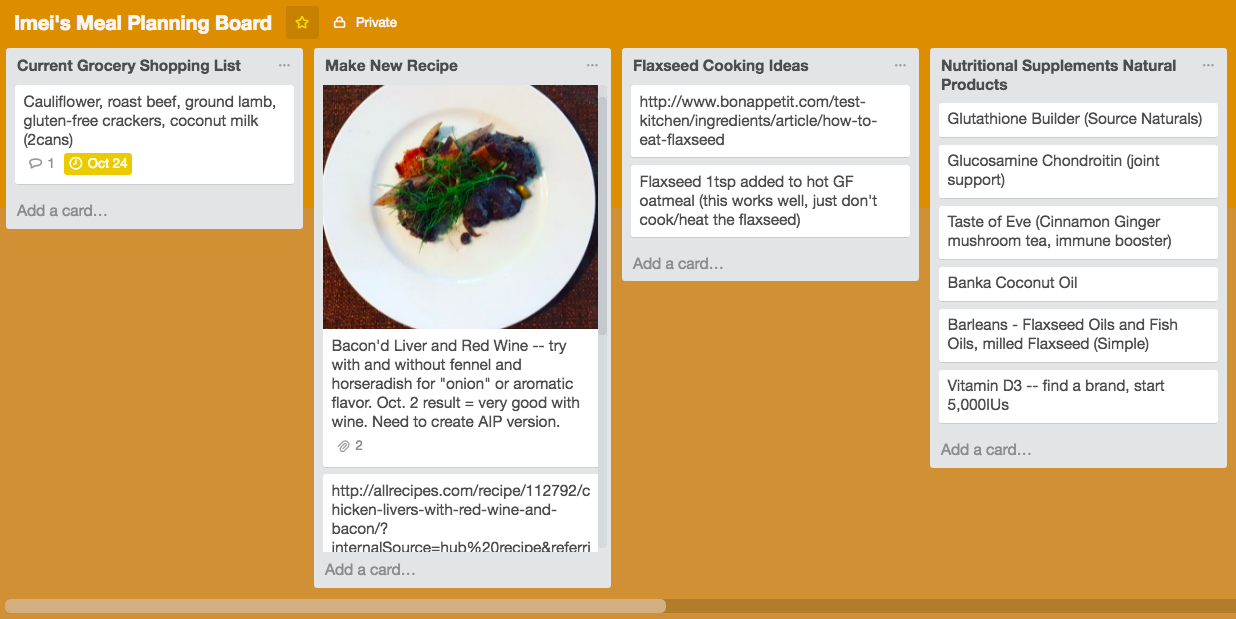 You can customize your Board with photos of food, recipes downloaded from the Internet, and your own notes.