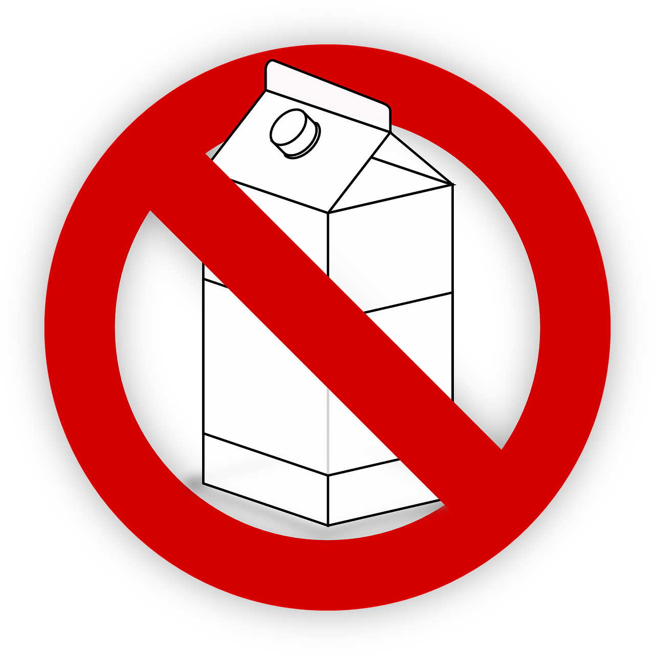 sketch of milk carton with red circle and cross out.